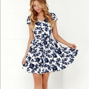Lulus Ivory and Navy Floral Print Skater Dress